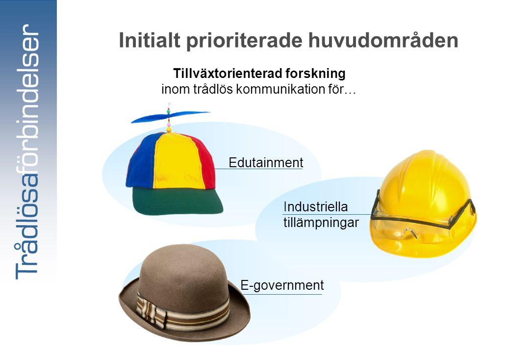 Initialt prioriterade huvudområden Edutainment E-government Tillväxtorienterad forskning inom trådlös kommunikation för… Industriella tillämpningar