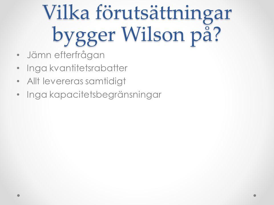 Vilka förutsättningar bygger Wilson på.