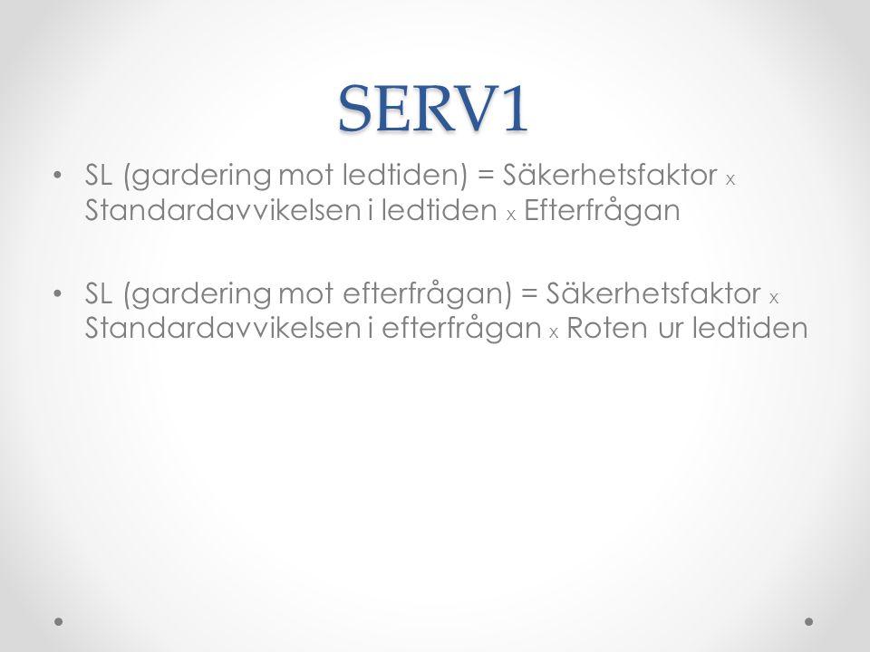 SERV1 SL (gardering mot ledtiden) = Säkerhetsfaktor x Standardavvikelsen i ledtiden x Efterfrågan SL (gardering mot efterfrågan) = Säkerhetsfaktor x Standardavvikelsen i efterfrågan x Roten ur ledtiden