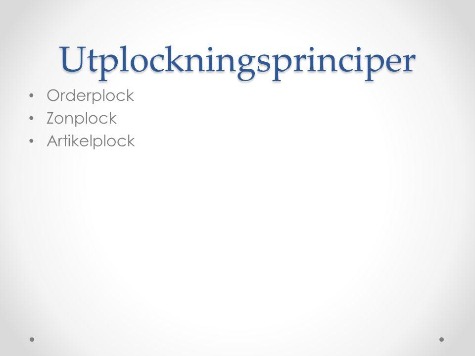 Utplockningsprinciper Orderplock Zonplock Artikelplock