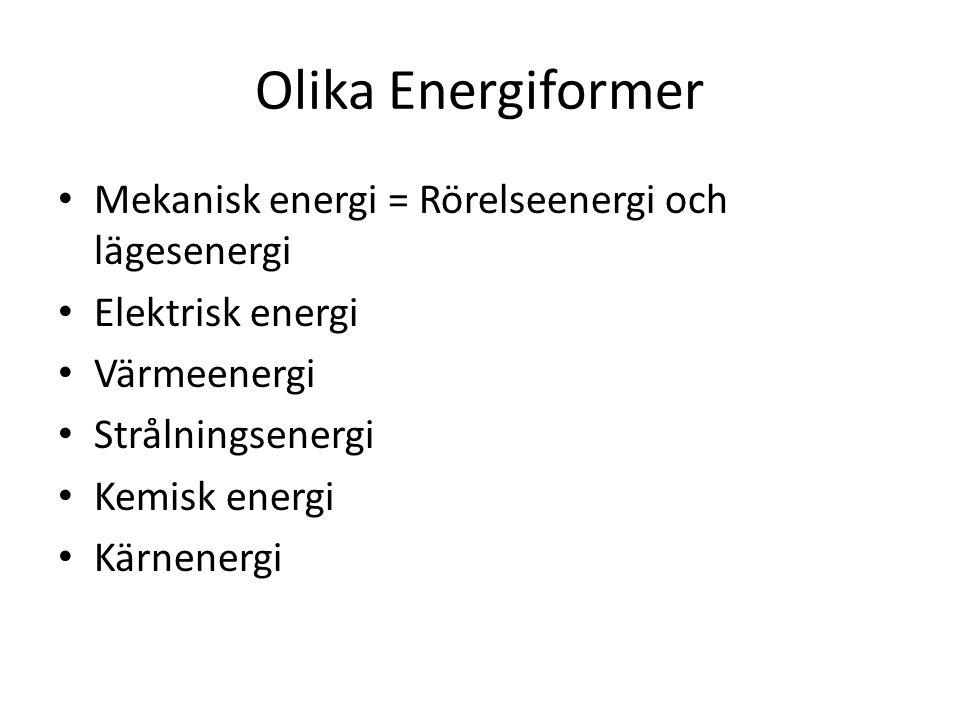 Olika Energiformer Mekanisk energi = Rörelseenergi och lägesenergi Elektrisk energi Värmeenergi Strålningsenergi Kemisk energi Kärnenergi