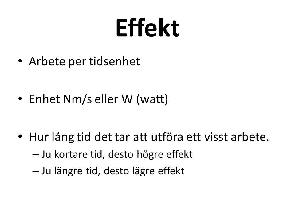 Effekt Arbete per tidsenhet Enhet Nm/s eller W (watt) Hur lång tid det tar att utföra ett visst arbete. – Ju kortare tid, desto högre effekt – Ju läng
