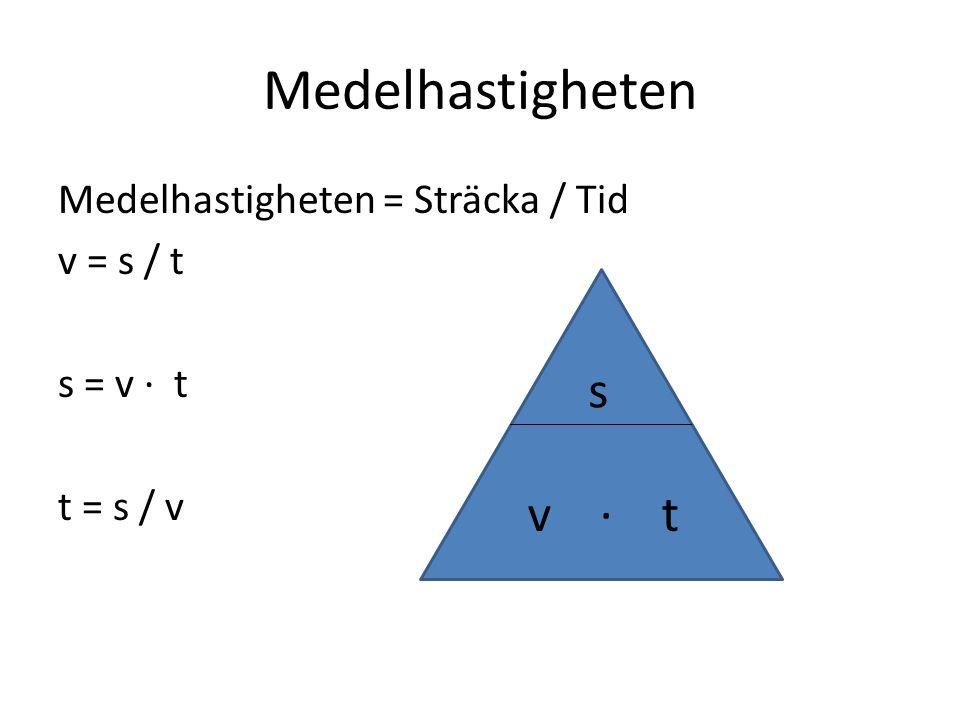 Medelhastigheten Medelhastigheten = Sträcka / Tid v = s / t s = v · t t = s / v s v · t