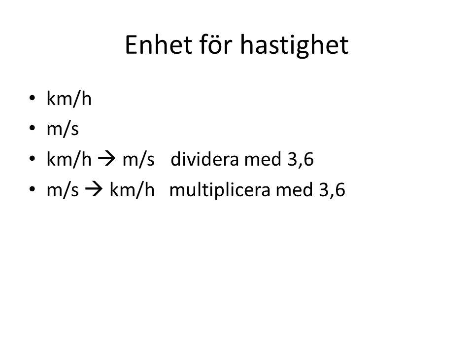 Enhet för hastighet km/h m/s km/h  m/sdividera med 3,6 m/s  km/h multiplicera med 3,6