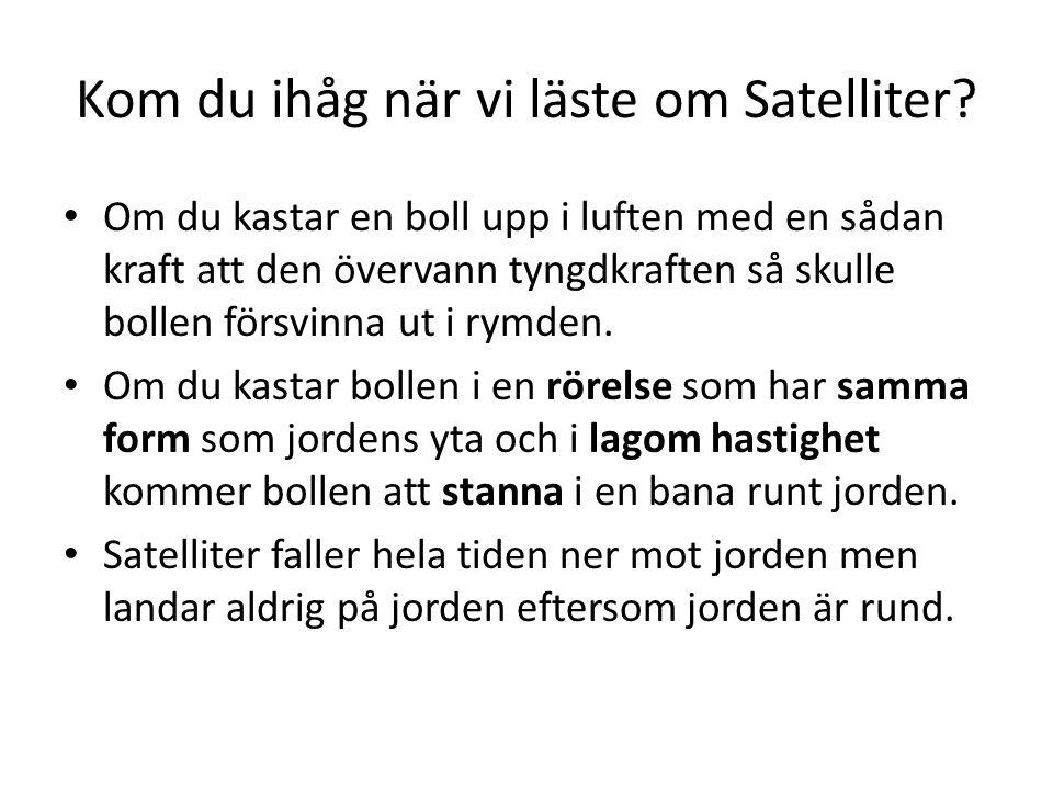 Kom du ihåg när vi läste om Satelliter? Om du kastar en boll upp i luften med en sådan kraft att den övervann tyngdkraften så skulle bollen försvinna