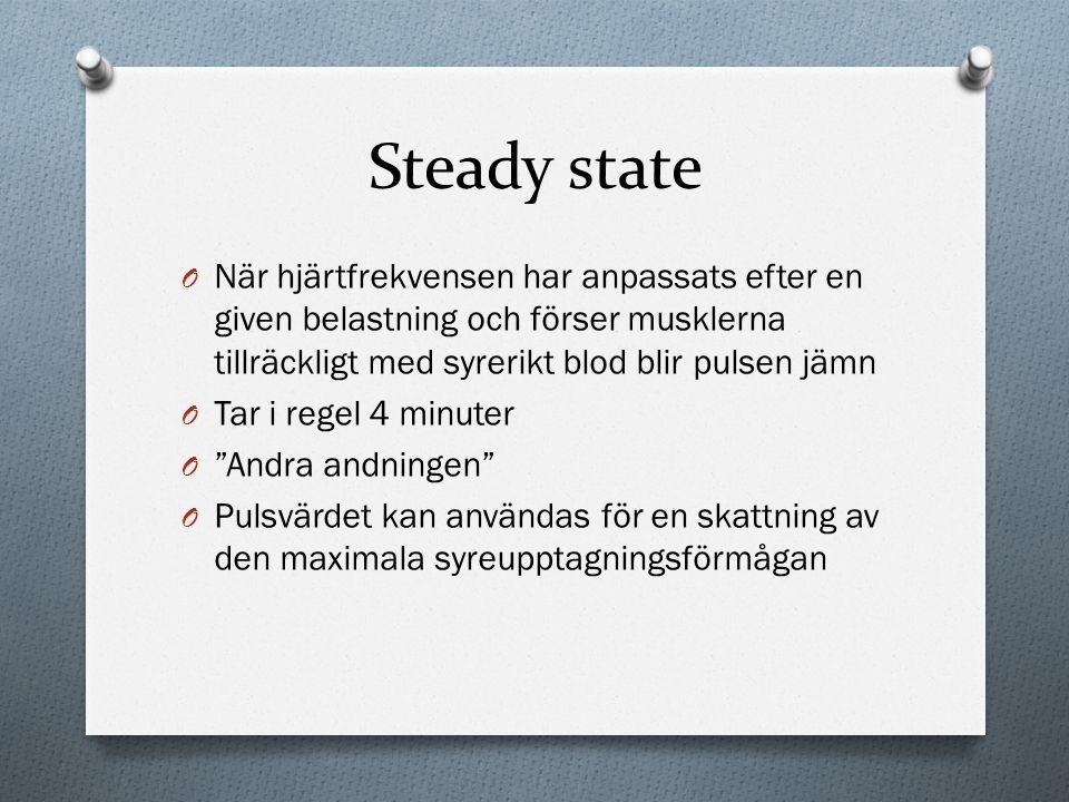 Steady state O När hjärtfrekvensen har anpassats efter en given belastning och förser musklerna tillräckligt med syrerikt blod blir pulsen jämn O Tar