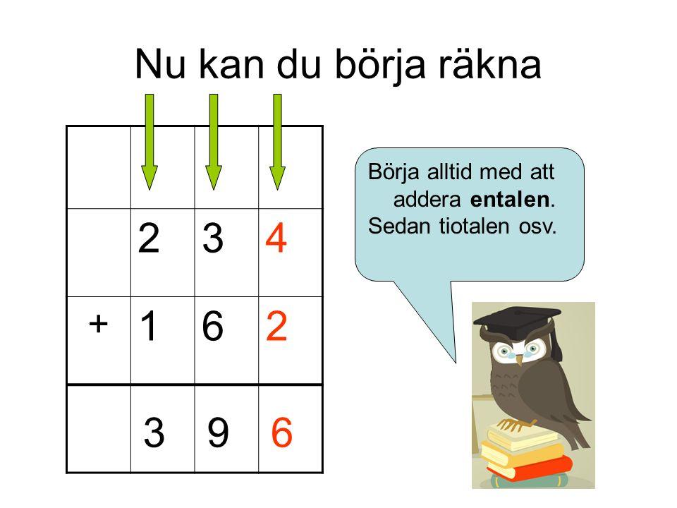 Nu kan du börja räkna 234 + 162 Börja alltid med att addera entalen. Sedan tiotalen osv. 693