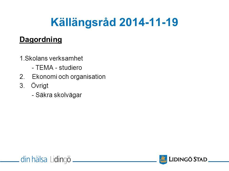 Källängsråd 2014-11-19 Dagordning 1.Skolans verksamhet - TEMA - studiero 2.