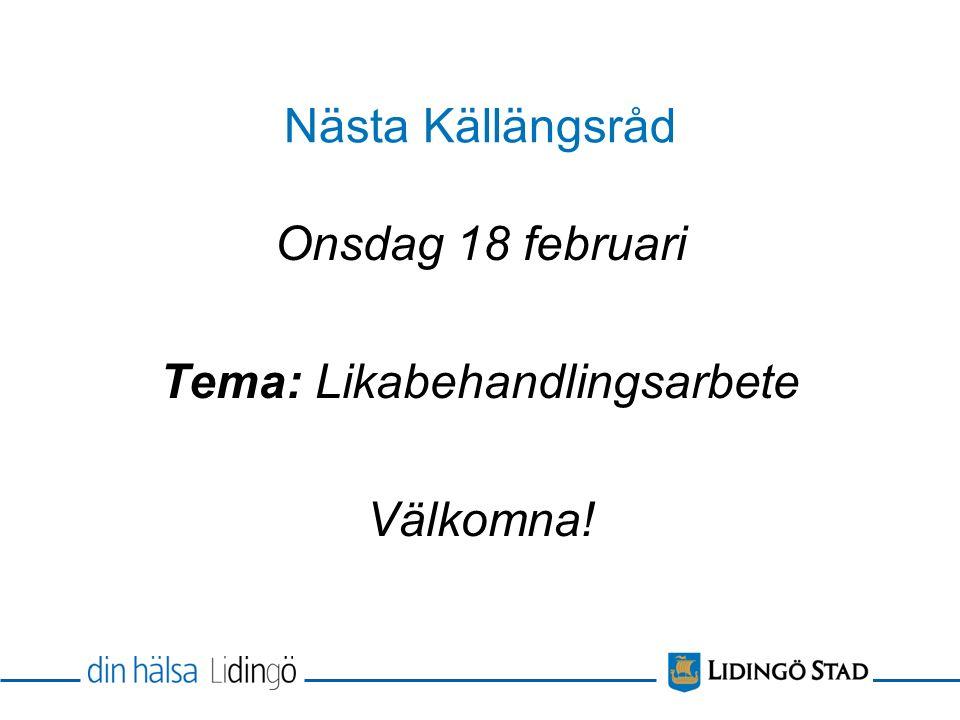 Nästa Källängsråd Onsdag 18 februari Tema: Likabehandlingsarbete Välkomna!