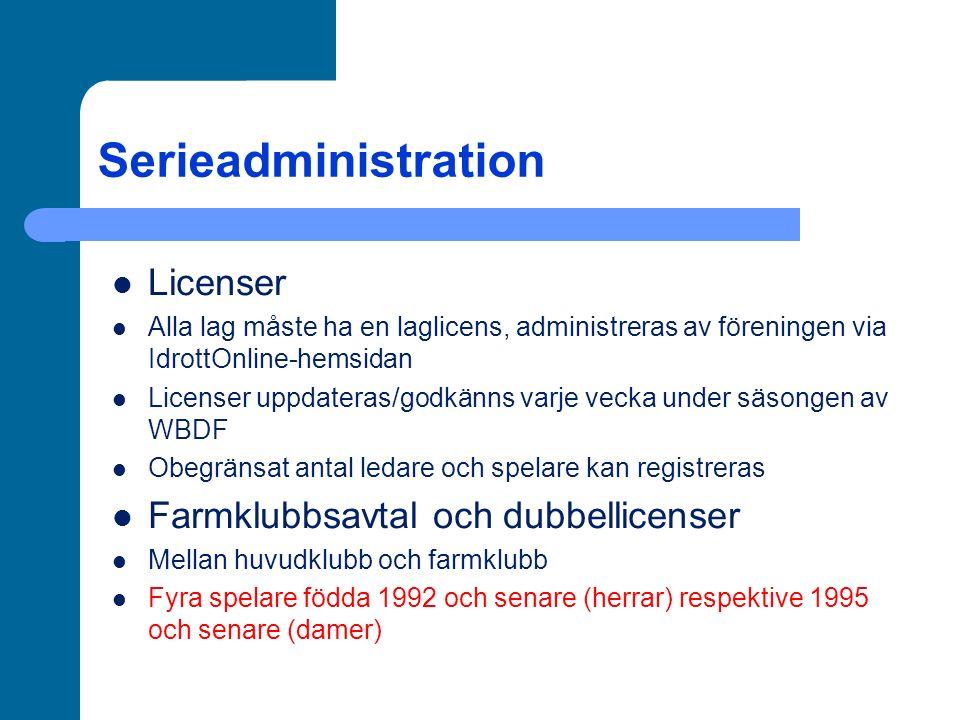 Serieadministration Licenser Alla lag måste ha en laglicens, administreras av föreningen via IdrottOnline-hemsidan Licenser uppdateras/godkänns varje vecka under säsongen av WBDF Obegränsat antal ledare och spelare kan registreras Farmklubbsavtal och dubbellicenser Mellan huvudklubb och farmklubb Fyra spelare födda 1992 och senare (herrar) respektive 1995 och senare (damer)