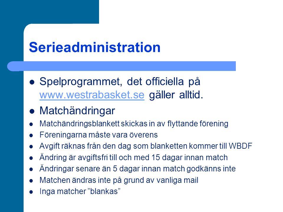 Vad kostar för föreningen… Dubbellicenser (1000 kr) Övergångar mellan föreningar (500 kr) Urdragning (1000 kr-5000 kr) Dispensansökan (500 kr) Matchändringar 15 dagar innan match och tidigare, 0 kr 14-10 dagar innan match, 500 kr 9-6 dagar innan match, 1000 kr 5 dagar innan match och senare, matchändring godkänns inte Försent inskickat matchprotokoll (100 kr) Ej sms-at matchresultat (100 kr) Ej reglementsenligt sekretariat (100 kr)