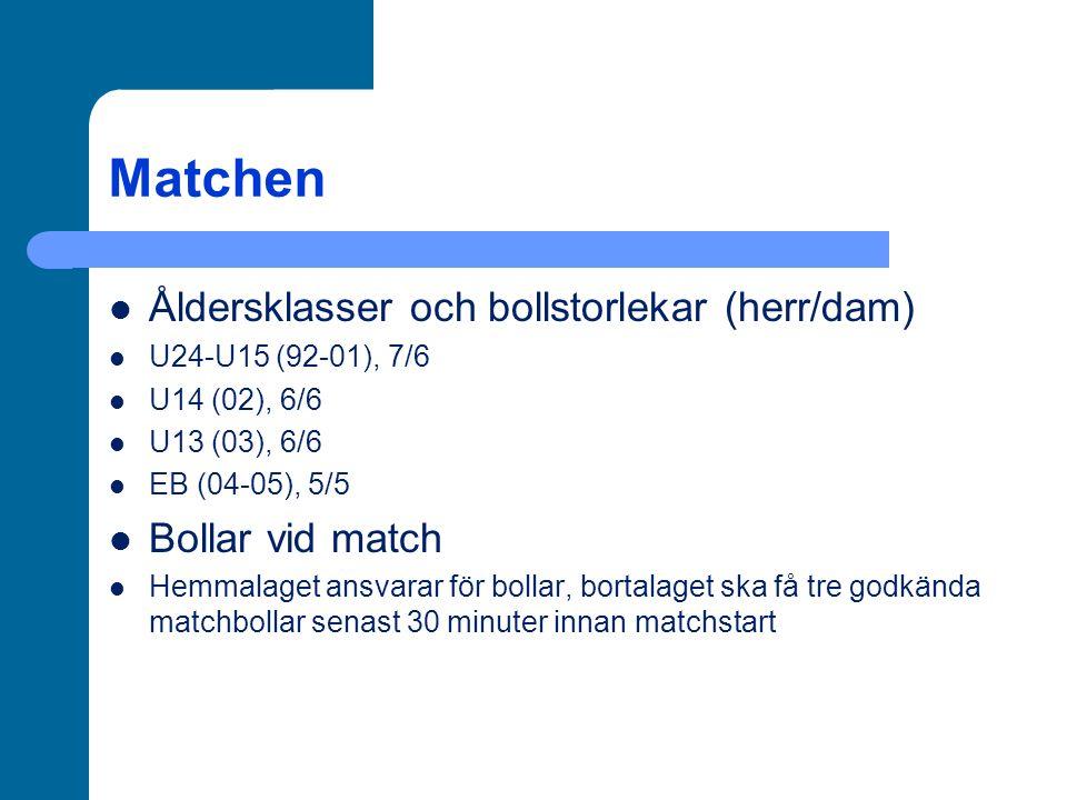Matchen Åldersklasser och bollstorlekar (herr/dam) U24-U15 (92-01), 7/6 U14 (02), 6/6 U13 (03), 6/6 EB (04-05), 5/5 Bollar vid match Hemmalaget ansvarar för bollar, bortalaget ska få tre godkända matchbollar senast 30 minuter innan matchstart