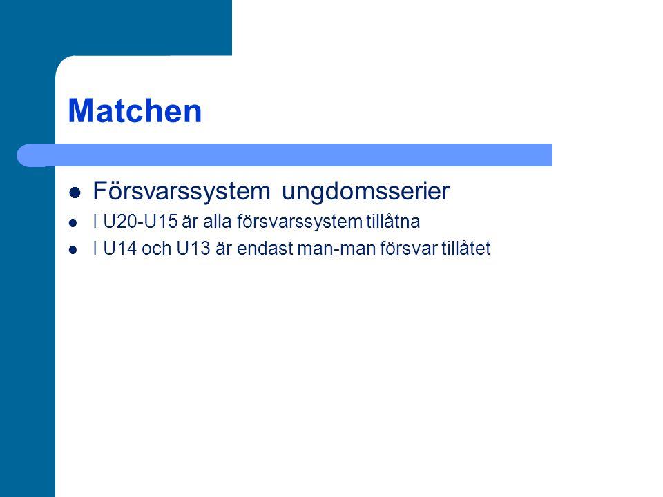 Matchen Försvarssystem ungdomsserier I U20-U15 är alla försvarssystem tillåtna I U14 och U13 är endast man-man försvar tillåtet