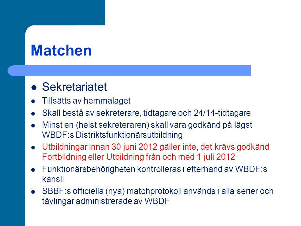 Matchen Sekretariatet Tillsätts av hemmalaget Skall bestå av sekreterare, tidtagare och 24/14-tidtagare Minst en (helst sekreteraren) skall vara godkänd på lägst WBDF:s Distriktsfunktionärsutbildning Utbildningar innan 30 juni 2012 gäller inte, det krävs godkänd Fortbildning eller Utbildning från och med 1 juli 2012 Funktionärsbehörigheten kontrolleras i efterhand av WBDF:s kansli SBBF:s officiella (nya) matchprotokoll används i alla serier och tävlingar administrerade av WBDF