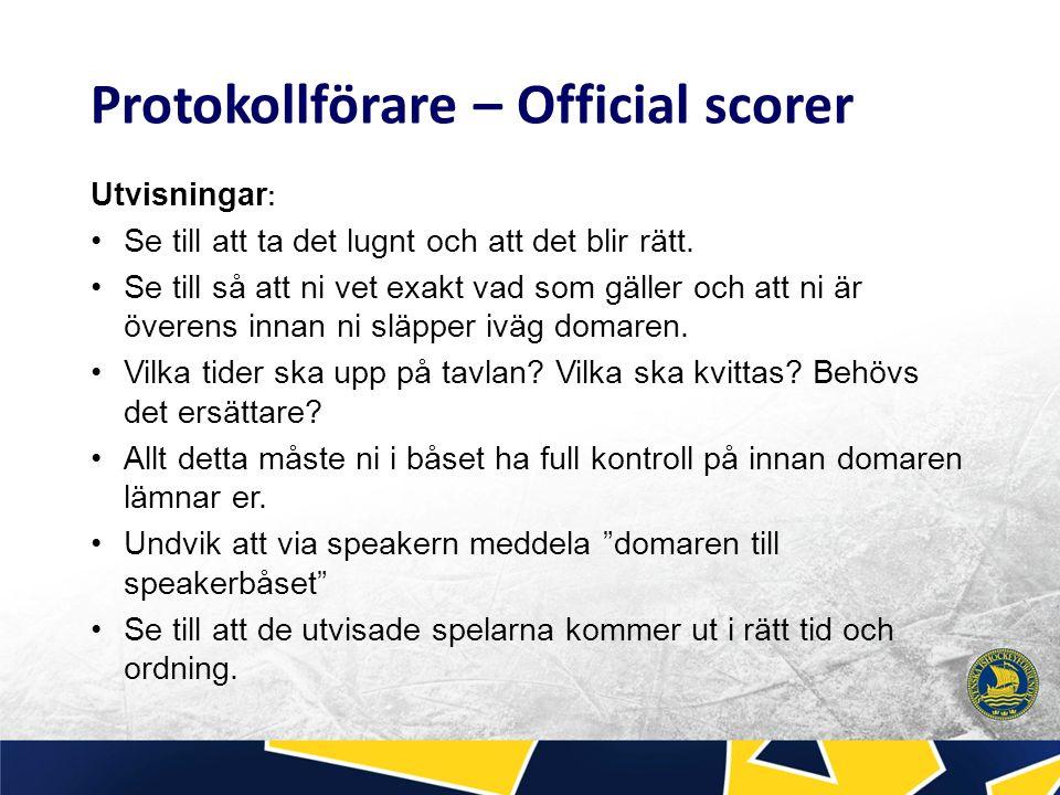 Under match: Vid mål: Se till att snabbt kolla så att målgörare och assisterande finns med i matchprotokollet.