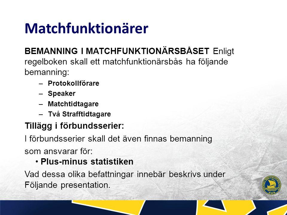 Bemanning i matchfunktionärsbåset Säsong 2015-2016 Matchfunktionärs utbildning