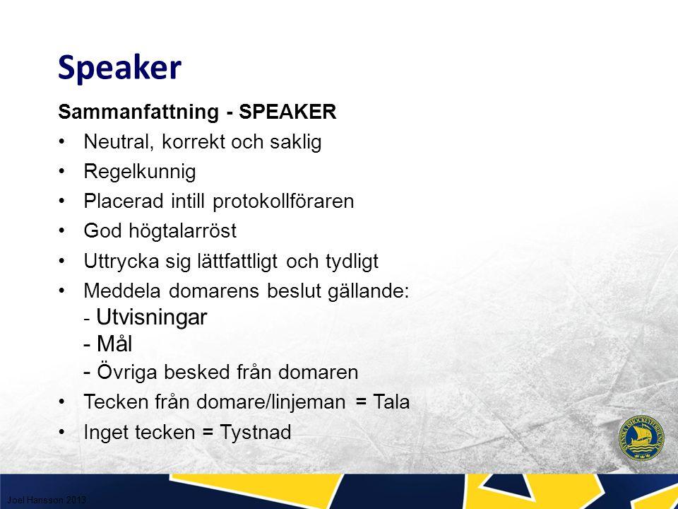 Ord som Du som speaker skall undvika: (målvakts)blockering domaren tyckte att … laget ökar ytterligare till … hemmalaget drabbas av en utvisning Joel Hansson 2013 Speaker