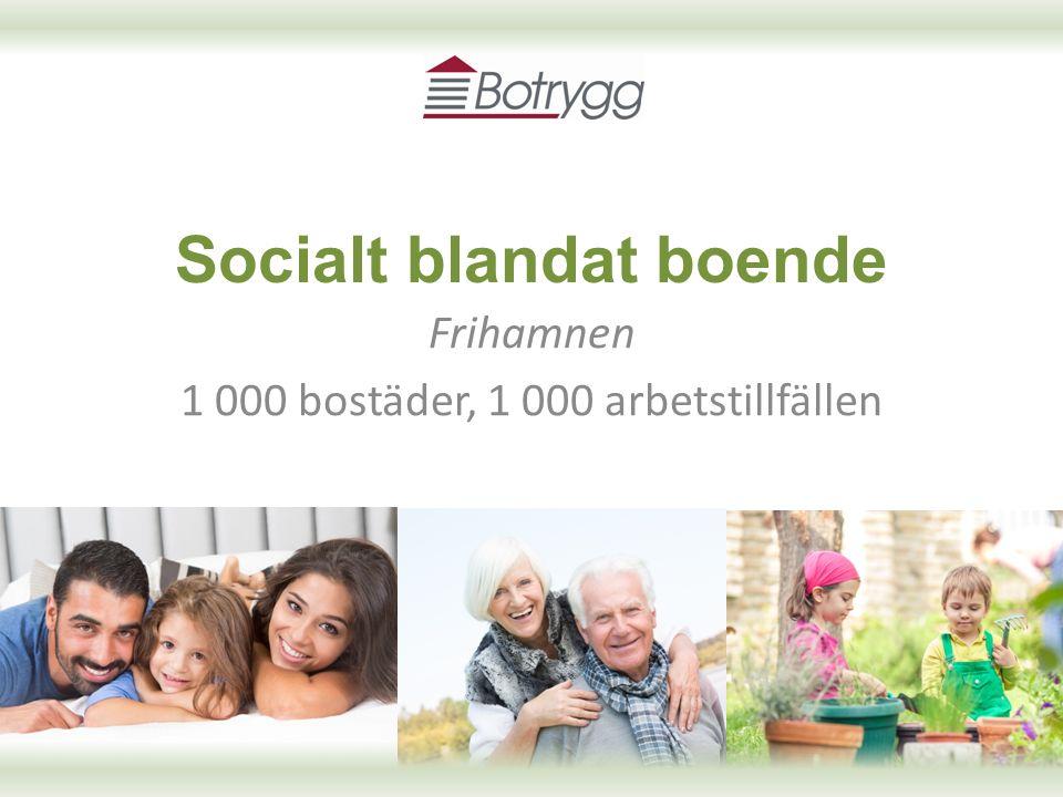 Socialt blandat boende Frihamnen 1 000 bostäder, 1 000 arbetstillfällen