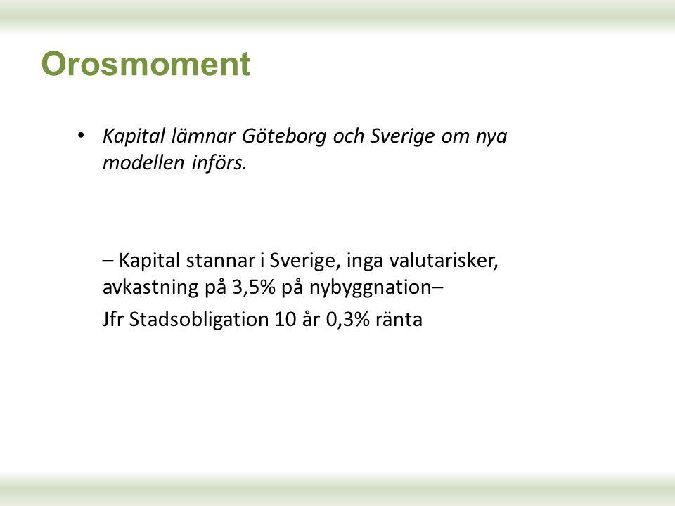 Kapital lämnar Göteborg och Sverige om nya modellen införs. – Kapital stannar i Sverige, inga valutarisker, avkastning på 3,5% på nybyggnation– Jfr St