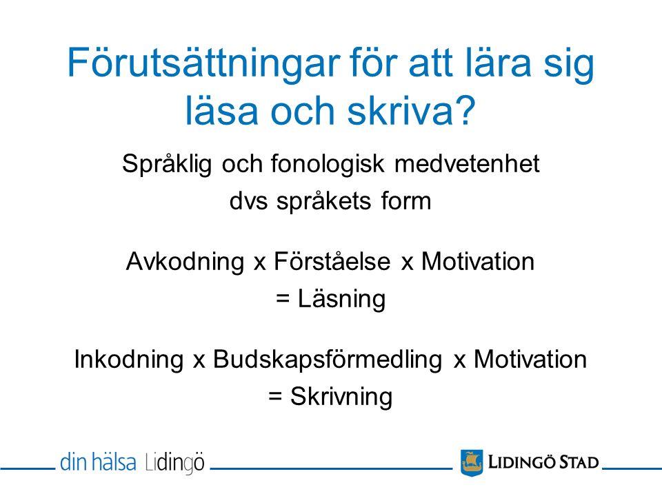 Förutsättningar för att lära sig läsa och skriva? Språklig och fonologisk medvetenhet dvs språkets form Avkodning x Förståelse x Motivation = Läsning