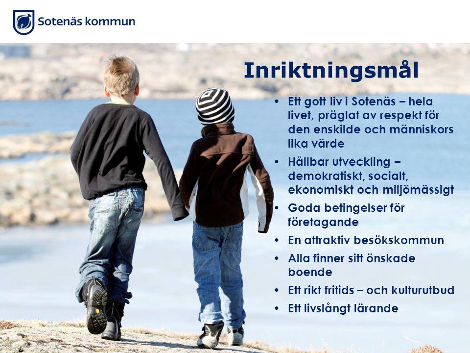 Inriktningsmål Ett gott liv i Sotenäs – hela livet, präglat av respekt för den enskilde och människors lika värde Hållbar utveckling – demokratiskt, s