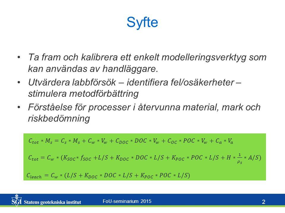FoU-seminarium 2015 2 Syfte Ta fram och kalibrera ett enkelt modelleringsverktyg som kan användas av handläggare.