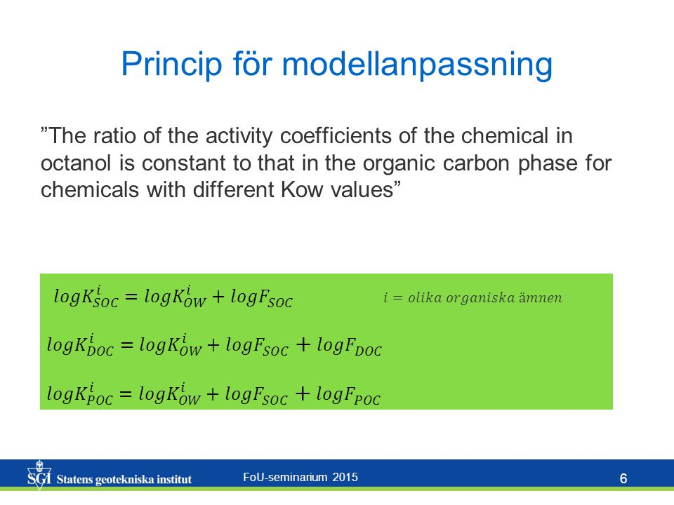 FoU-seminarium 2015 6 Princip för modellanpassning The ratio of the activity coefficients of the chemical in octanol is constant to that in the organic carbon phase for chemicals with different Kow values