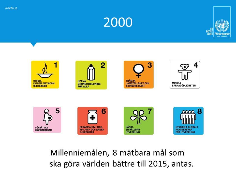 2000 Millenniemålen, 8 mätbara mål som ska göra världen bättre till 2015, antas.