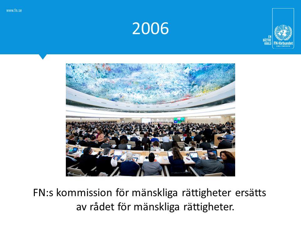 2006 FN:s kommission för mänskliga rättigheter ersätts av rådet för mänskliga rättigheter.