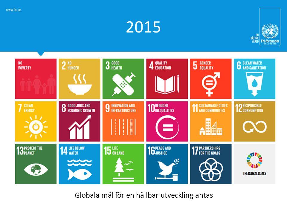 2015 Globala mål för en hållbar utveckling antas
