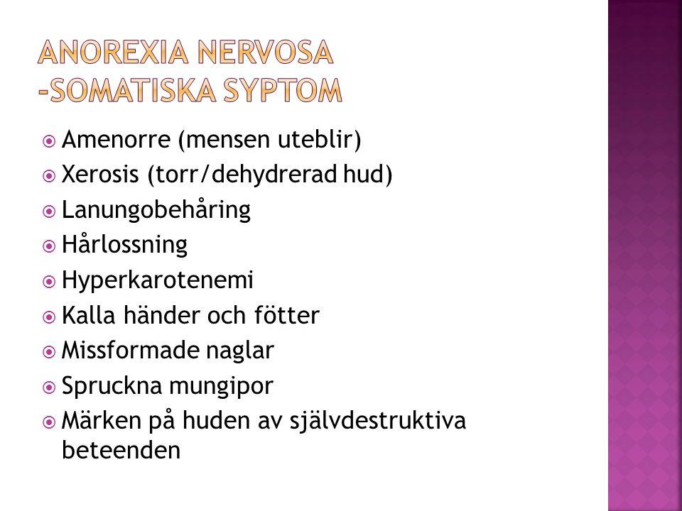  Amenorre (mensen uteblir)  Xerosis (torr/dehydrerad hud)  Lanungobehåring  Hårlossning  Hyperkarotenemi  Kalla händer och fötter  Missformade
