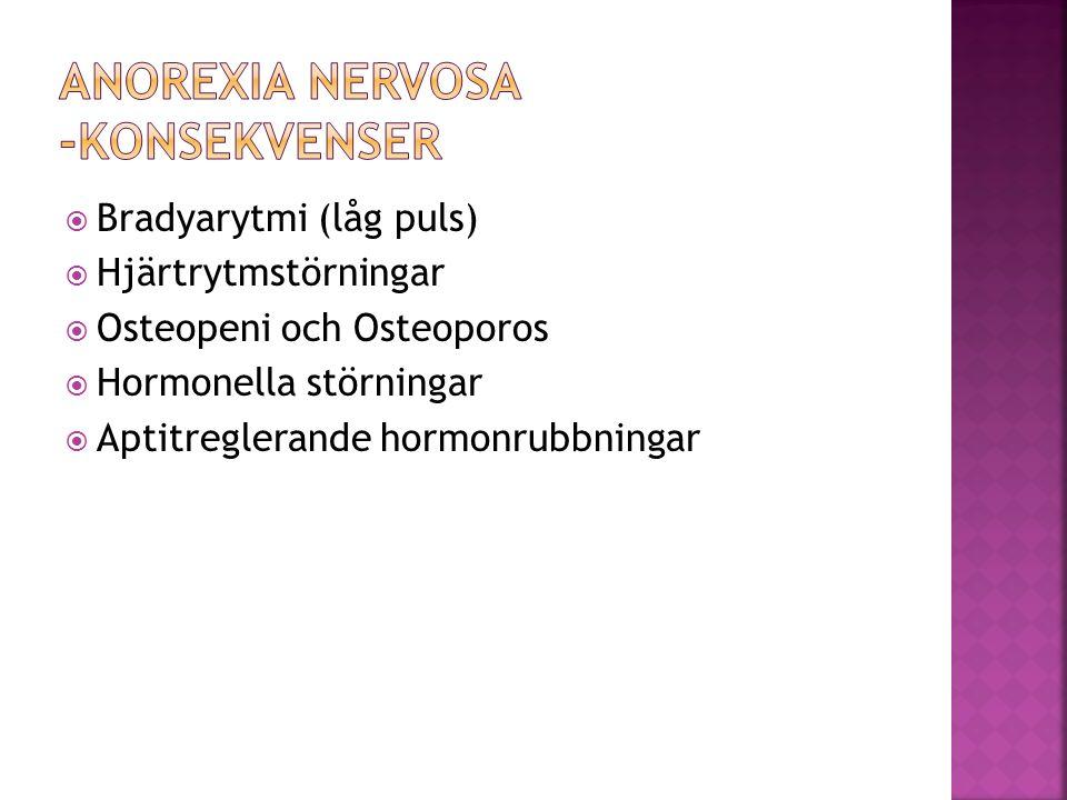  Bradyarytmi (låg puls)  Hjärtrytmstörningar  Osteopeni och Osteoporos  Hormonella störningar  Aptitreglerande hormonrubbningar