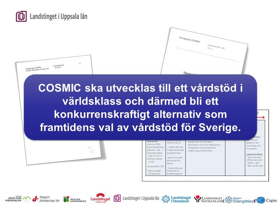 Erik Sköldenberg COSMIC ska utvecklas till ett vårdstöd i världsklass och därmed bli ett konkurrenskraftigt alternativ som framtidens val av vårdstöd