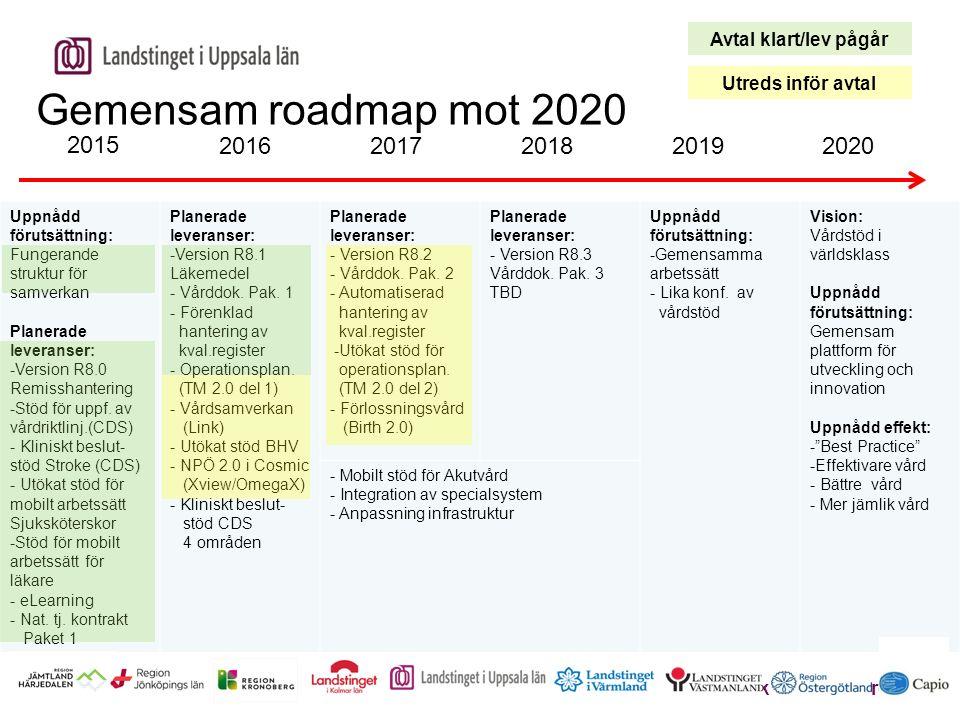 2020 2015 2016201720182019 Uppnådd förutsättning: Fungerande struktur för samverkan Planerade leveranser: -Version R8.0 Remisshantering -Stöd för uppf