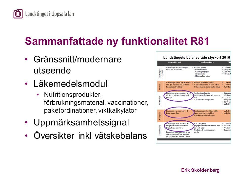 Erik Sköldenberg Sammanfattade ny funktionalitet R81 Gränssnitt/modernare utseende Läkemedelsmodul Nutritionsprodukter, förbrukningsmaterial, vaccinat
