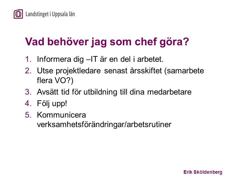 Erik Sköldenberg Vad behöver jag som chef göra? 1.Informera dig –IT är en del i arbetet. 2.Utse projektledare senast årsskiftet (samarbete flera VO?)