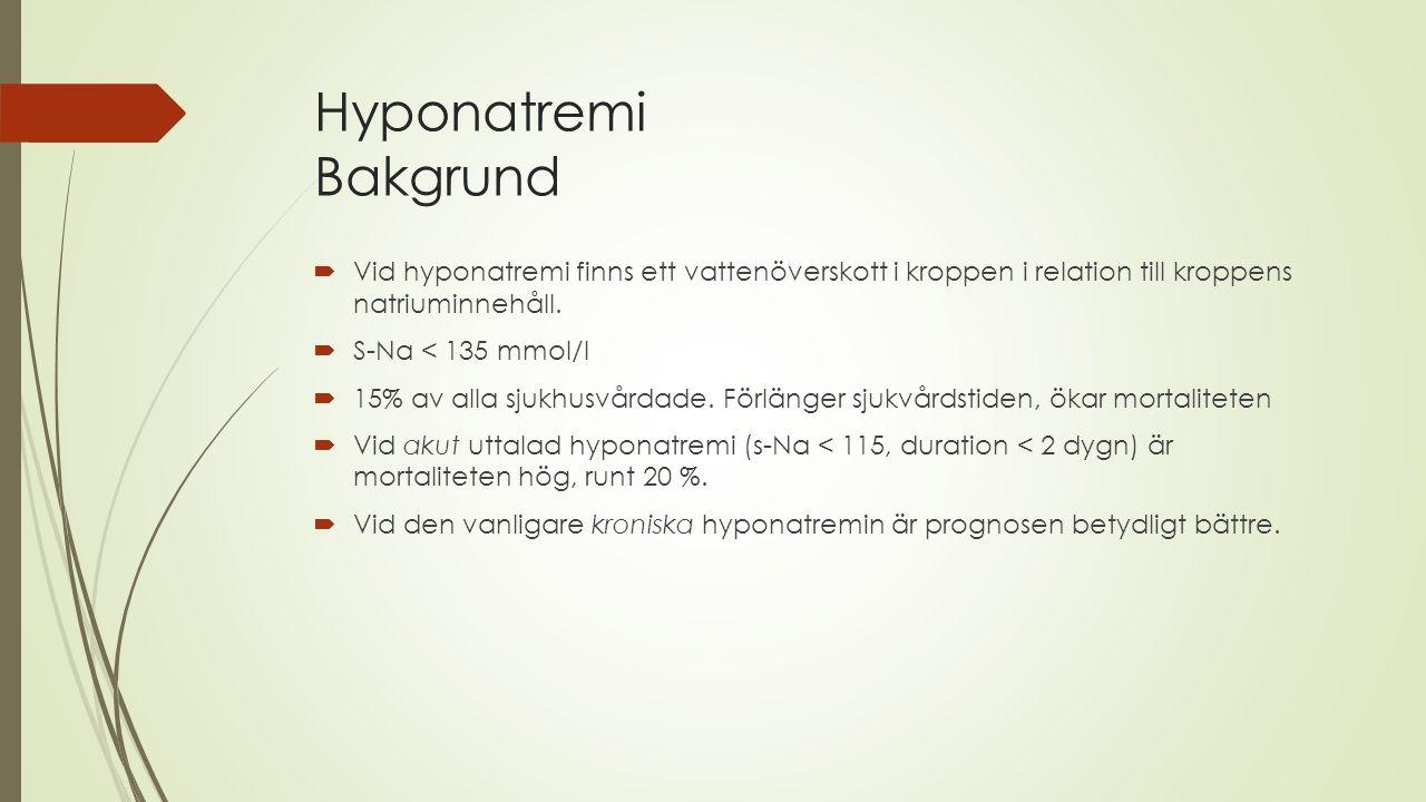 Hyponatremi Bakgrund  Vid hyponatremi finns ett vattenöverskott i kroppen i relation till kroppens natriuminnehåll.  S-Na < 135 mmol/l  15% av alla