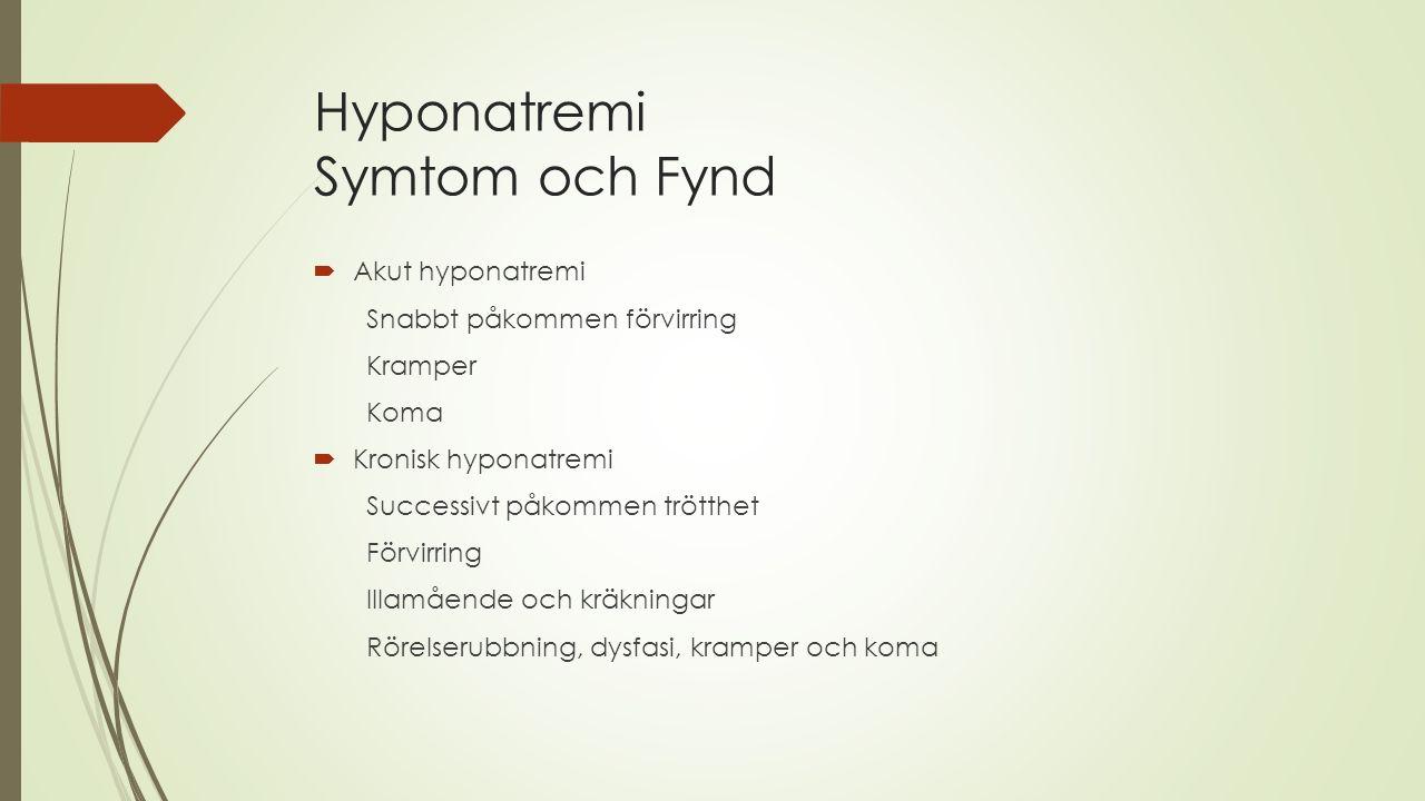 Hyponatremi Symtom och Fynd  Akut hyponatremi Snabbt påkommen förvirring Kramper Koma  Kronisk hyponatremi Successivt påkommen trötthet Förvirring I