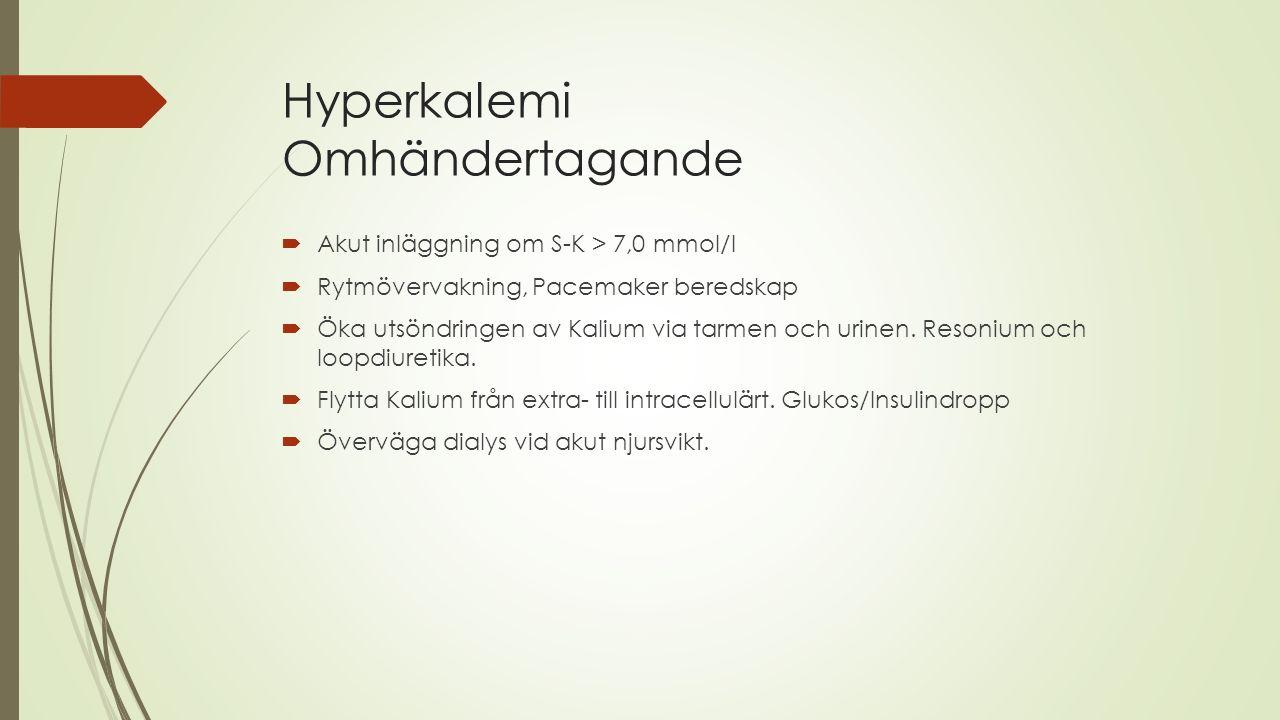 Hyperkalemi Omhändertagande  Akut inläggning om S-K > 7,0 mmol/l  Rytmövervakning, Pacemaker beredskap  Öka utsöndringen av Kalium via tarmen och u