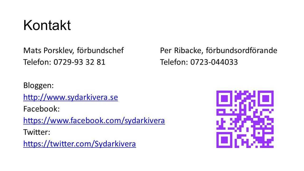 Kontakt Mats Porsklev, förbundschefPer Ribacke, förbundsordförande Telefon: 0729-93 32 81Telefon: 0723-044033 Bloggen: http://www.sydarkivera.se Faceb