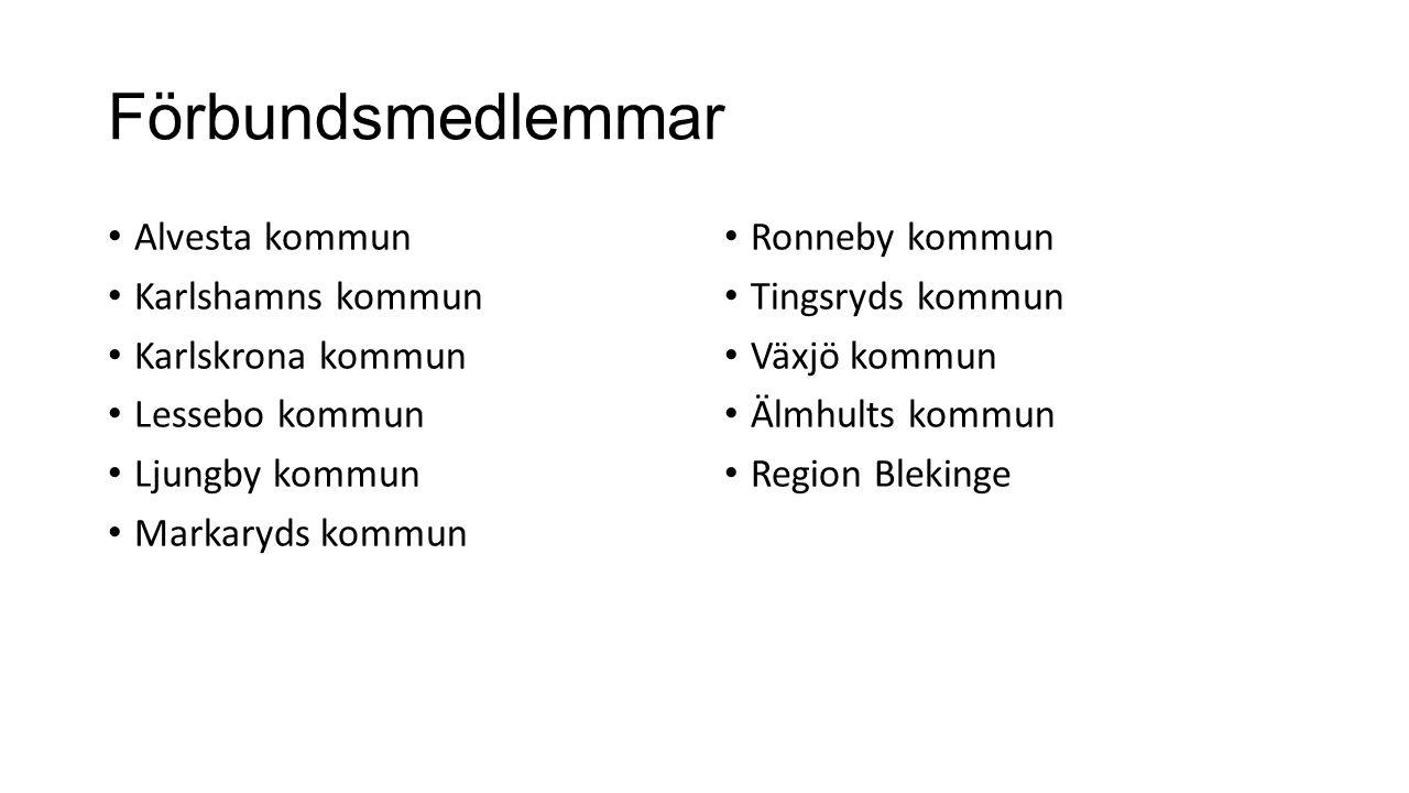 Förbundsmedlemmar Alvesta kommun Karlshamns kommun Karlskrona kommun Lessebo kommun Ljungby kommun Markaryds kommun Ronneby kommun Tingsryds kommun Vä