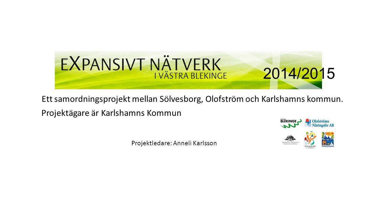 2014/2015 Ett samordningsprojekt mellan Sölvesborg, Olofström och Karlshamns kommun.