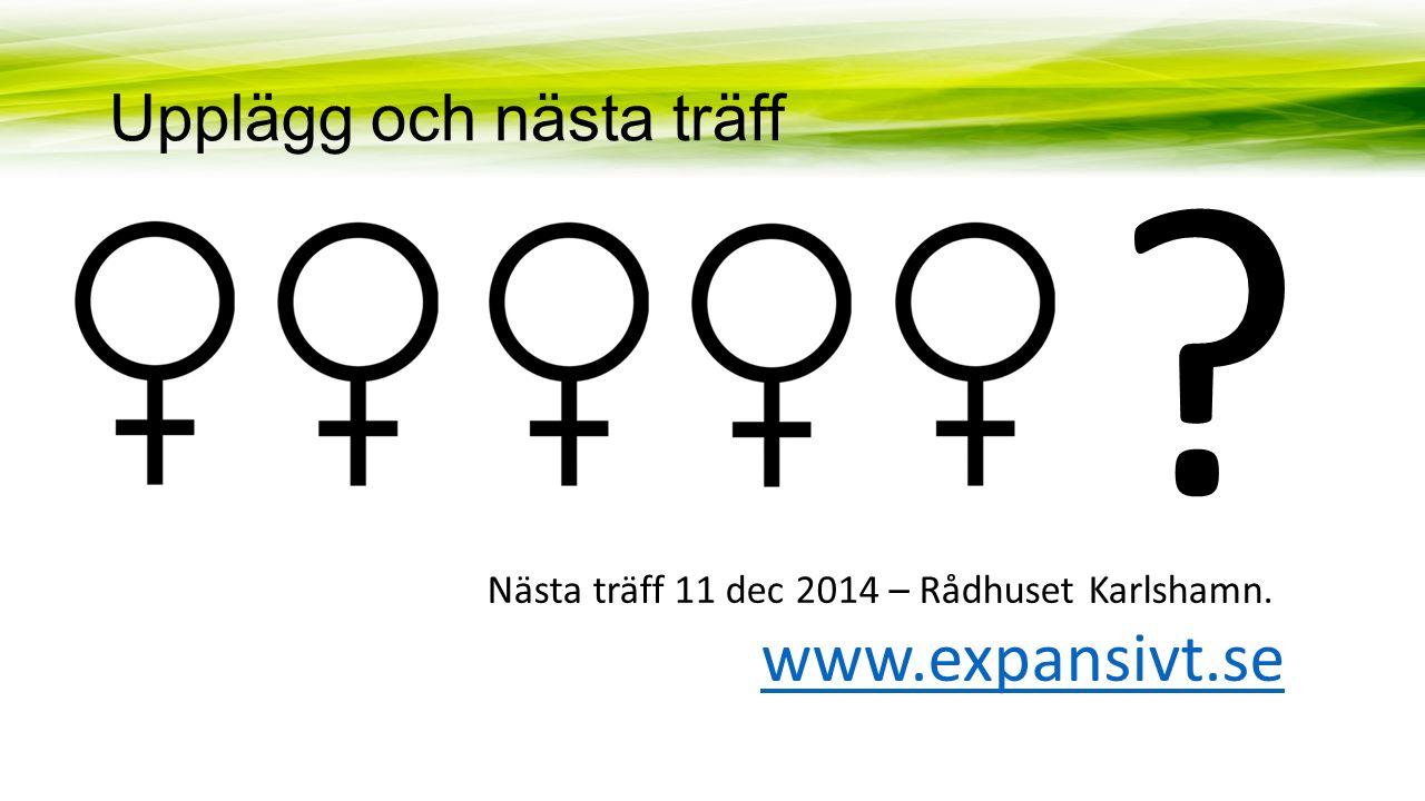 Upplägg och nästa träff Nästa träff 11 dec 2014 – Rådhuset Karlshamn. www.expansivt.se