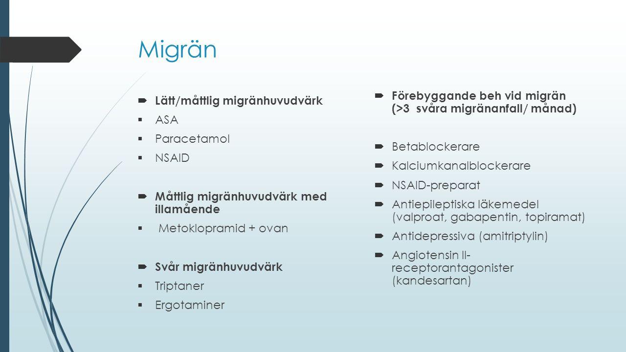  Lätt/måttlig migränhuvudvärk  ASA  Paracetamol  NSAID  Måttlig migränhuvudvärk med illamående  Metoklopramid + ovan  Svår migränhuvudvärk  Tr