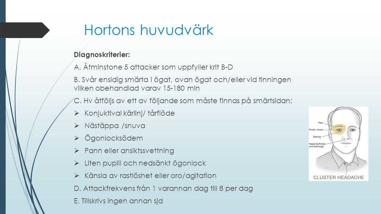 Hortons huvudvärk Diagnoskriterier: A. Åtminstone 5 attacker som uppfyller krit B-D B. Svår ensidig smärta i ögat, ovan ögat och/eller vid tinningen v