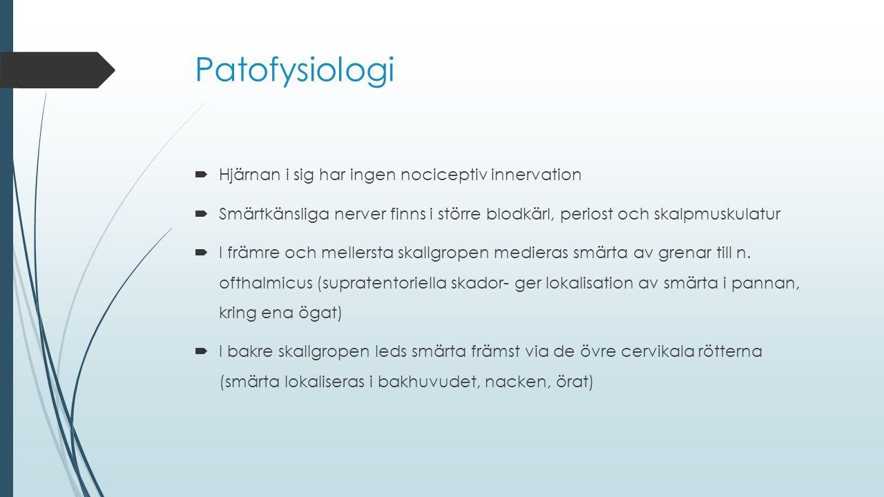 Patofysiologi  Hjärnan i sig har ingen nociceptiv innervation  Smärtkänsliga nerver finns i större blodkärl, periost och skalpmuskulatur  I främre