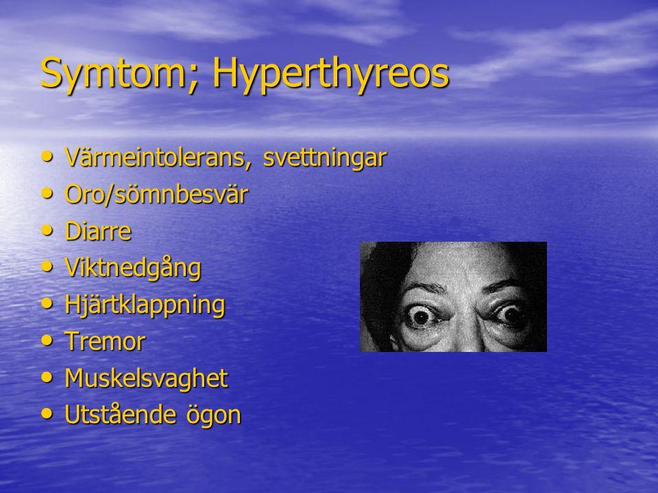 Symtom; Hyperthyreos Värmeintolerans, svettningar Värmeintolerans, svettningar Oro/sömnbesvär Oro/sömnbesvär Diarre Diarre Viktnedgång Viktnedgång Hjä