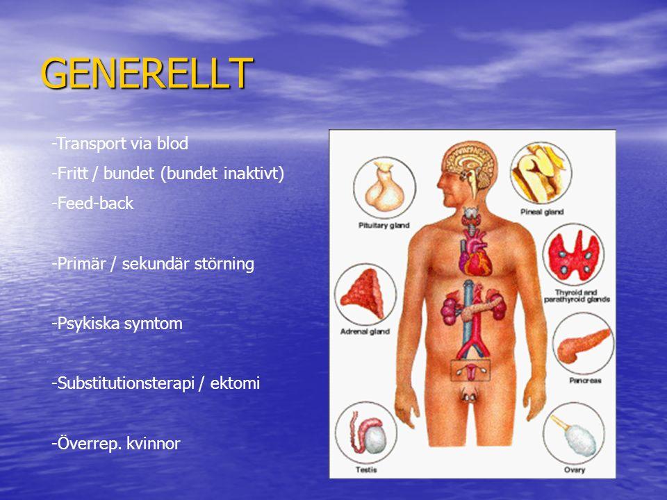 GENERELLT -Transport via blod -Fritt / bundet (bundet inaktivt) -Feed-back -Primär / sekundär störning -Psykiska symtom -Substitutionsterapi / ektomi
