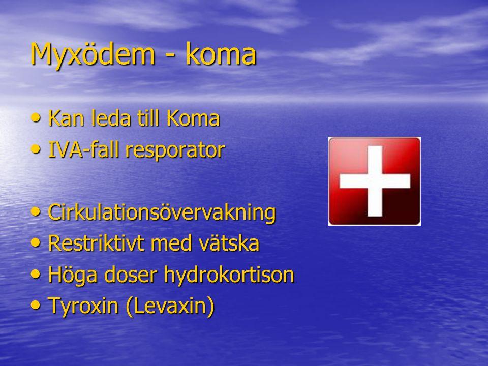 Myxödem - koma Kan leda till Koma Kan leda till Koma IVA-fall resporator IVA-fall resporator Cirkulationsövervakning Cirkulationsövervakning Restrikti