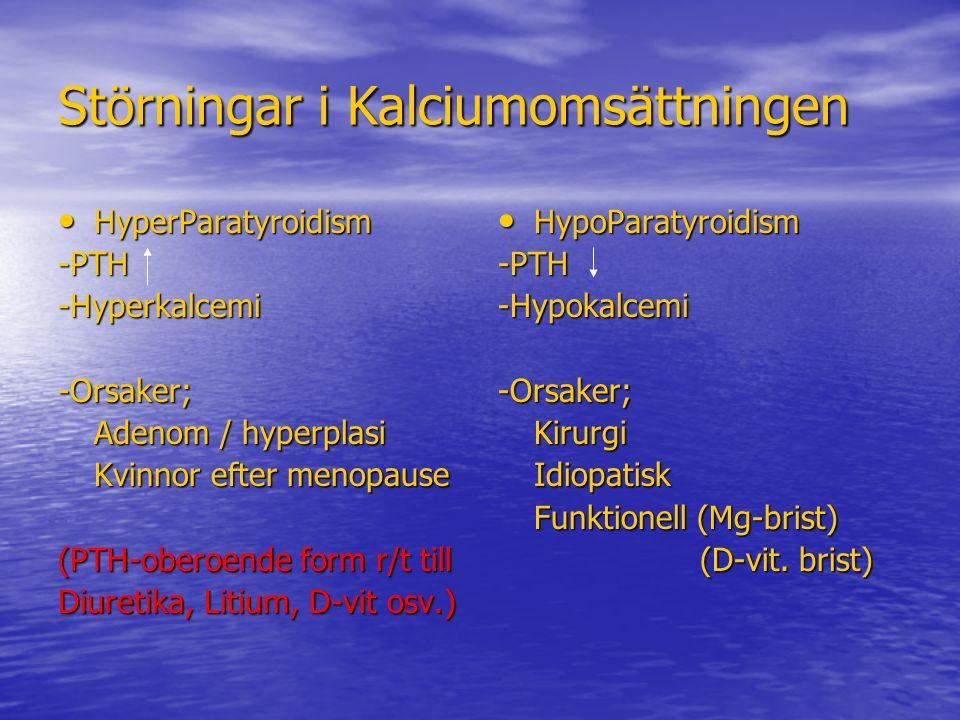 Störningar i Kalciumomsättningen HyperParatyroidism HyperParatyroidism-PTH-Hyperkalcemi-Orsaker; Adenom / hyperplasi Kvinnor efter menopause (PTH-ober